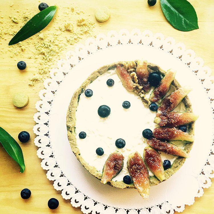 crostata al tè matcha ricotta e confettura di fichi