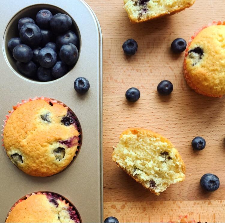 muffin senza burro al cocco e mirtilli