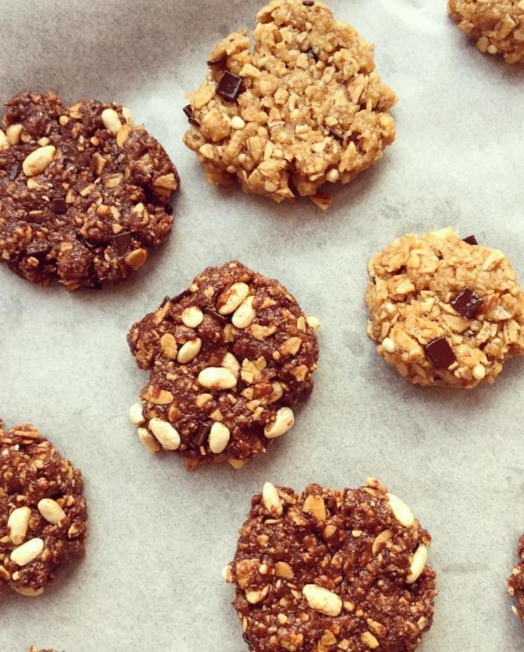 Biscotti integrali ai muesli, riso soffiato e cacao