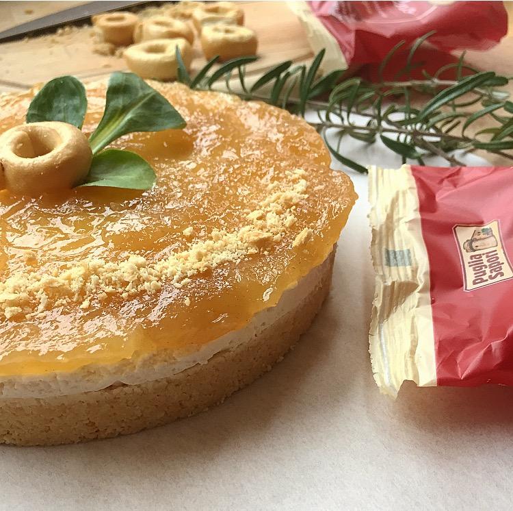 Cheesecake salata con taralli ricotta e pere
