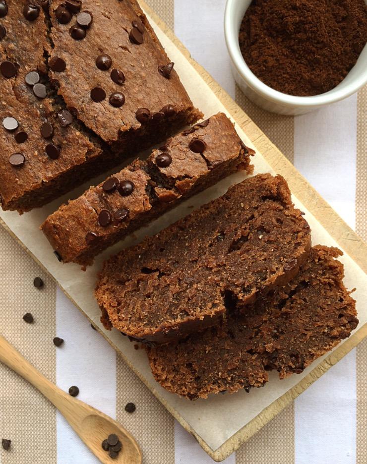 Bananabread al cacao, caffè e cioccolato fondente