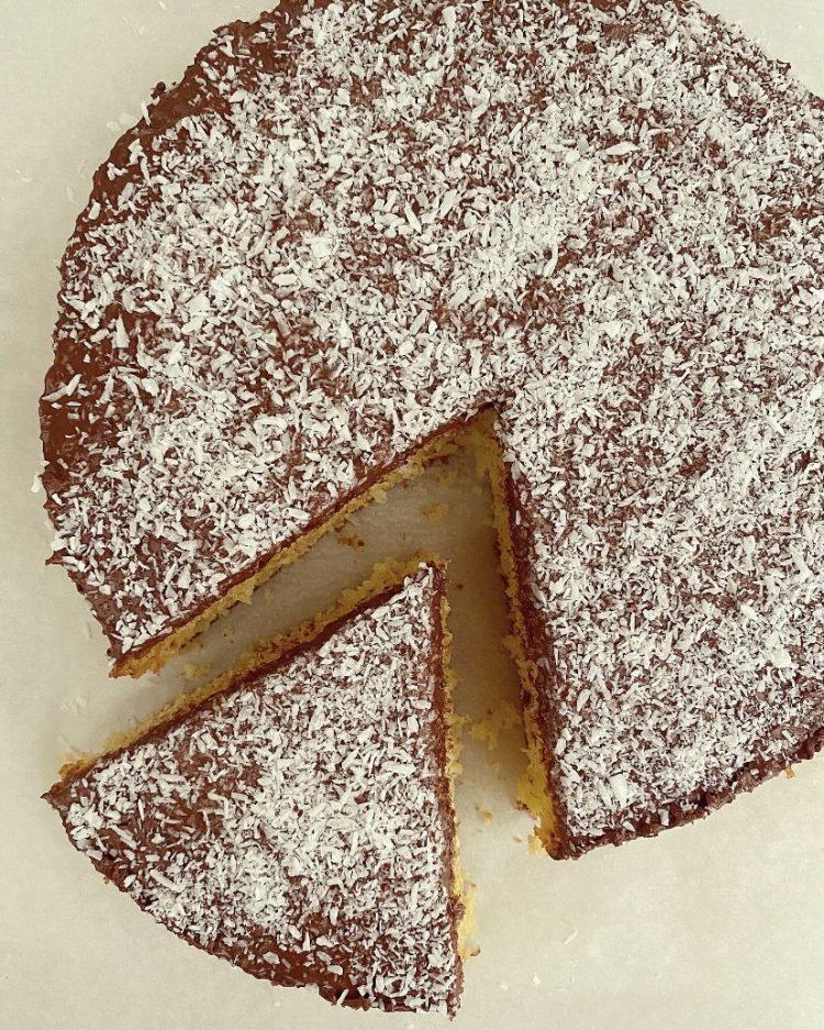 torta al cocco con crema al cacao