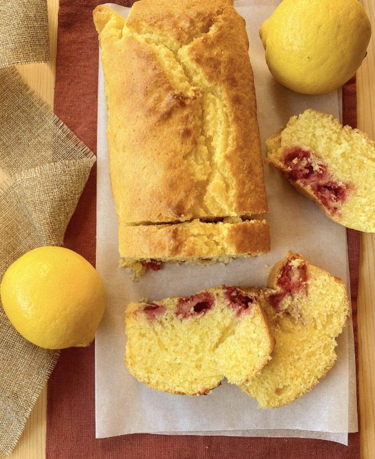 plumcake al limone e lamponi senza burro