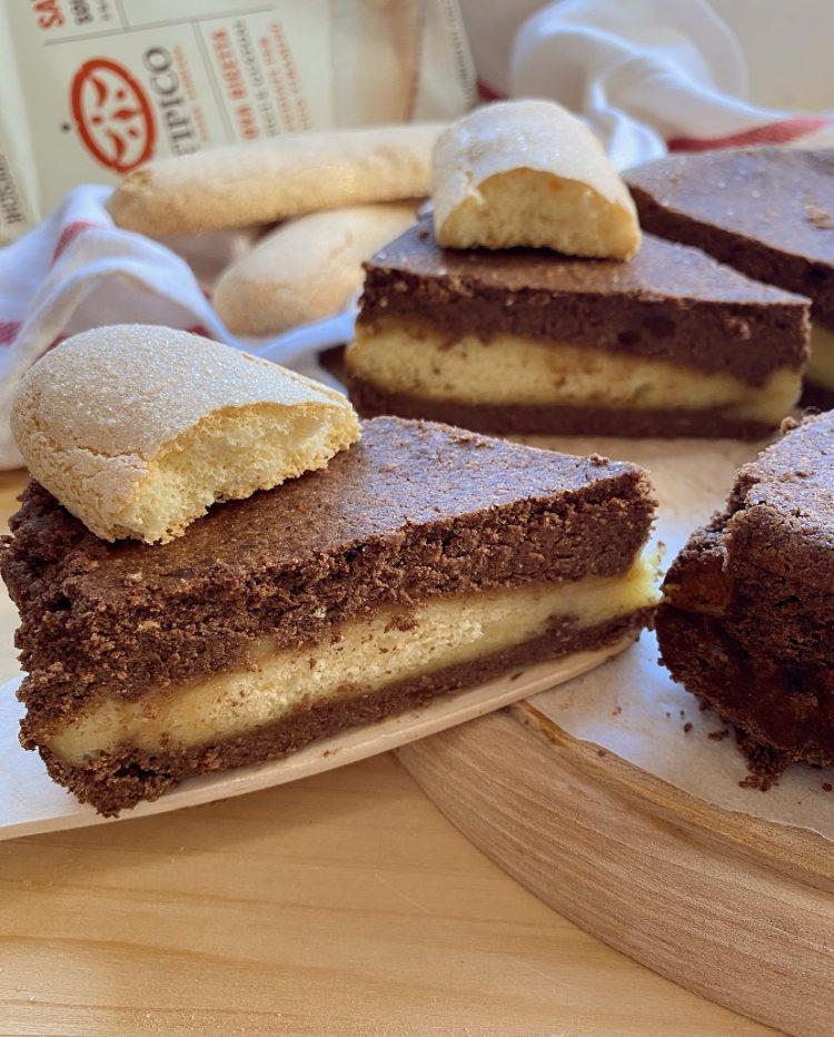 torta cremosa al cioccolato e savoiardi